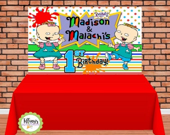 Rugrats Banner/Backdrop, Custom Banner, 6ft X 4ft Banner, Personalized Banner, Print and Ship! Checkout other Rugrats Party items in Shop!