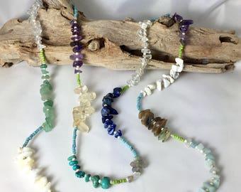 Long gemstone beaded necklace