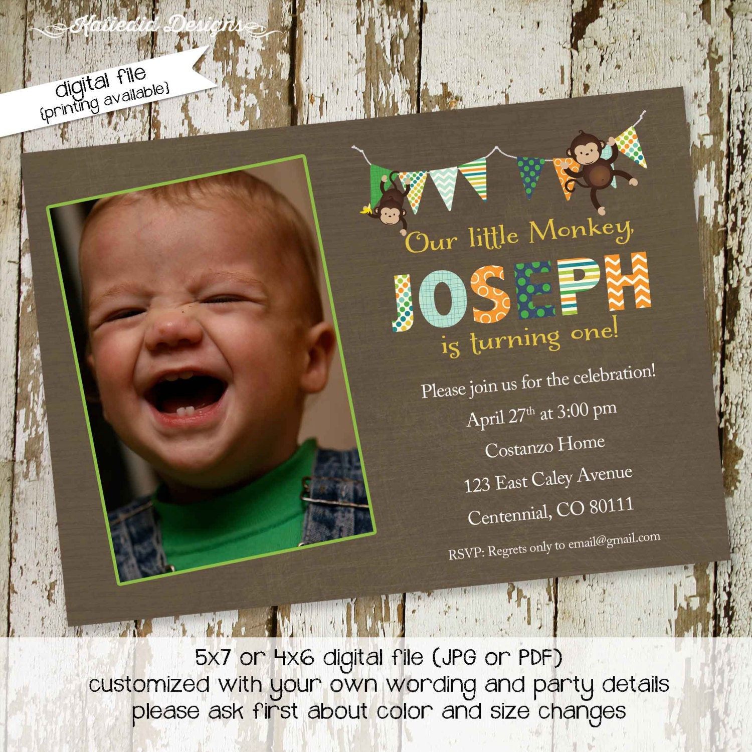 jungle monkey safari invitation monkey birthday invitation party boy ...