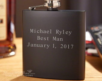 Personalized Matte Black Flask - Blackout Flask Engraved with Text of Your Choice - Unique Gifts for Best Man - Customized Gift