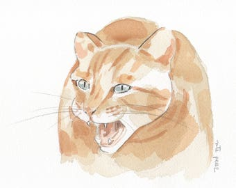 Cat Original Watercolor