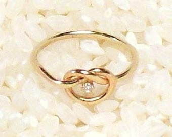 golden love knot  with diamond FREE SHIPPING