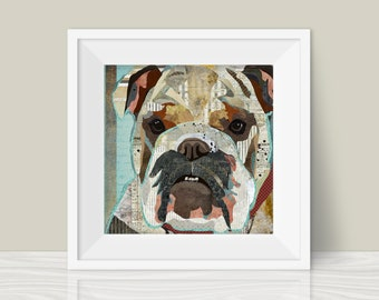 English Bulldog Collage Art Print - A Whimsical and Colorful  12x12in Home & Wall Decor Art Print and Unique Gift for Bully Lovers