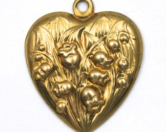 30mm Raw Brass Lily of the Valley Heart #57