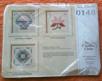 Creative Circle Flower Basket 0146 Margery Young 1989 Embroidery Kit Longstitch Kit
