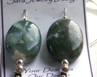 Sterling Silver Stacker Style Earrings in Ocean Jasper and Freshwater Pearls