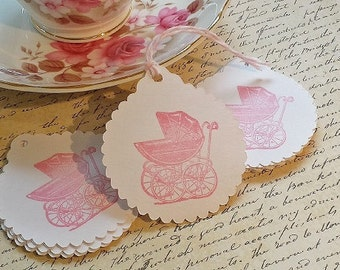 Favor Tags Vintage Baby Carriage - Favor Tags Set of 24 - Baby Shower Favor Tags - New Baby Girl