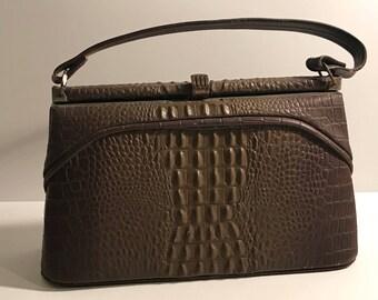 Vintage alligator purse hand bag 70's