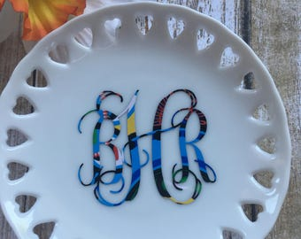 Monogrammed Ring Dish, Monogrammed Paisley Ring Dish, Personalized Ring Keeper, Personalized Jewelry Holder, Personalized Bridemaids Gift