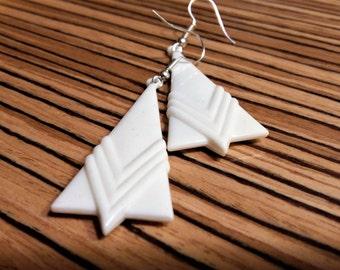 White art deco earrings