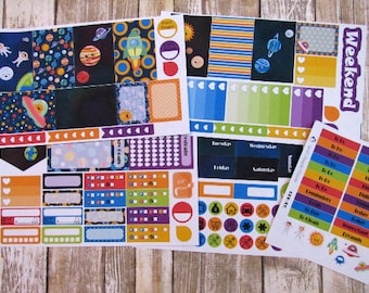 Space Weekly Planner Sticker Set, CLASSIC Happy Planner stickers, Solar system weekly, eclipse weekly
