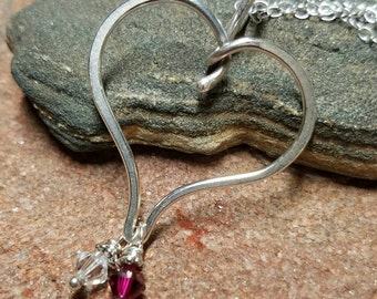 Unique Sterling Silver Charm Holder and 2 Birthstone Necklace - Choose from Several Styles and Finishes - Handmade to Order
