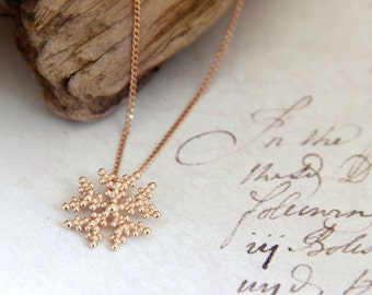 Gold Necklace Dainty Rose gold necklace dainty necklace Gold Snowflake Necklace Winter Necklace snow flake charm necklace