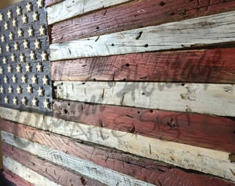 Wooden American Flag,Rustic flag,Barn wood flag,Wooden flag,American flag, Reclaimed Rustic