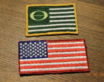 2 Patches USA Flag, Green Ecology Flag Patch Green Movement, both 70's,Sew on. American Red White and Blue,Patriotic