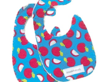 2 baby drool bibs, blue and red bibs, two flannel bibs, newborn baby gift, white chenille lined, newborn baby bibs, red apple bibs