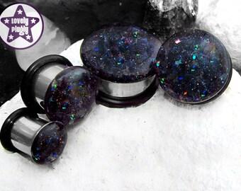 "Orgone Accumulator Glitter Plug / Gauge Black Holographic Rainbow 3/4"", 7/8"", 1"" / 19mm, 20mm, 22mm, 24mm, 25mm"