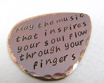 Personalized Copper Guitar Pick, Custom Guitar Pick, Guitar Pick Key Ring Key Chain, Guitar Pick Necklace, Copper 7th Anniversary, Nicole