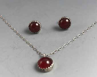 Delicate Carnelian Necklace and Earrings Set Vintage