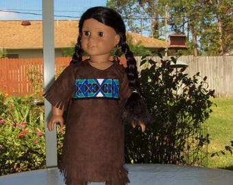 Nice Brown Native American  Dress with Soft Boots fits American Girl, and similar  dolls