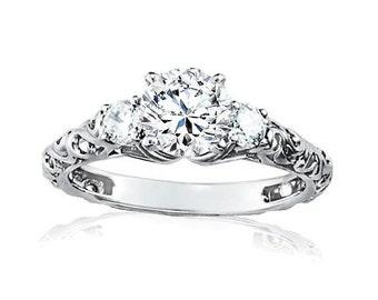 Vintage 1.00CT 3-Stone Diamond Engagement Ring 14K White Gold