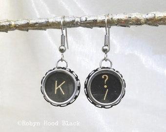 Typewriter Key Earrings Vintage  Letter K and Question Mark/Slash Keys