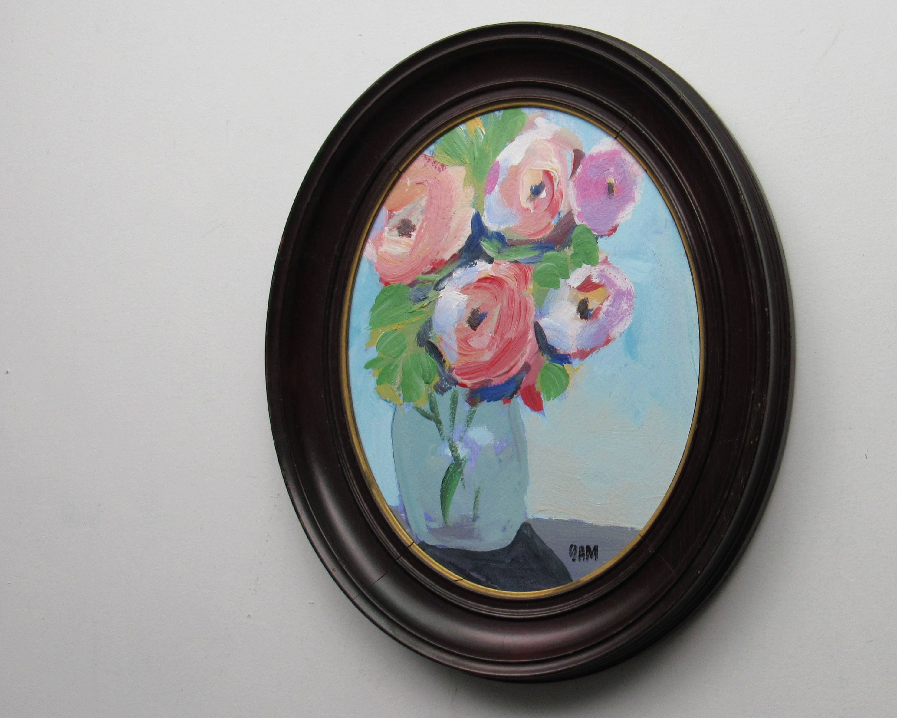 Original Painting Peonies In Blue Vase Antique Oval Frame
