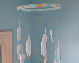Feather baby mobile, baby shower, nursery, ceiling mobile, tribal bohemian,gold dipped feathers, boho nursery