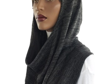Koul SHôl™ Head Hoodie Cowl Hoodie Heather Grey Black Sweater Knit Lined Hijab Hoodie Handmade