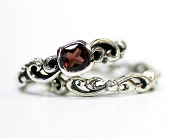 Garnet engagement ring set, unique silver swirl wedding set, square bezel engagment ring, mini Water Swirl ring, custom made to order