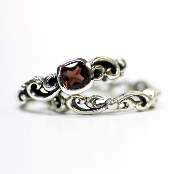 Garnet engagement ring set unique silver swirl wedding set