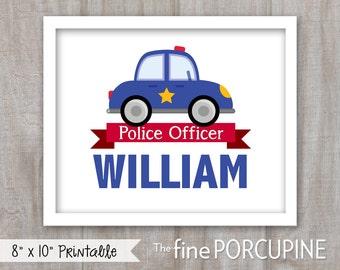 Police Car Nursery Art, Babys Room Art, Kids Art, Playroom Art, Childrens Art, Emergency Vehicle, Policeman, Babys Room, DIGITAL