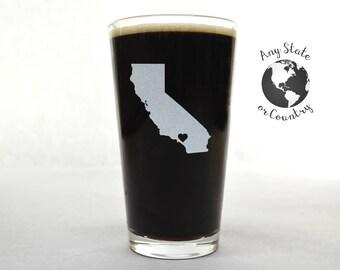 Custom Beer Glass - Custom Pint Glass - State Pint Glass - Personalized Pint Glass - Groomsmen Gift