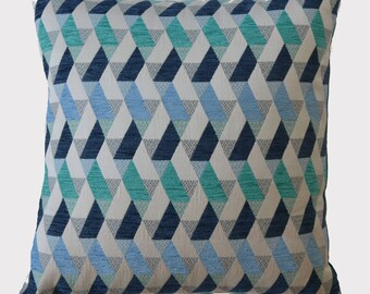Blue pillow, geometric patterns, 40 x 40