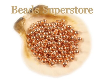 3 mm Rose Gold-Plated Brass Seamless Smooth Round Bead - Nickel Free and Lead Free - 50 pcs