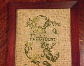 Mr and Mrs Burlap Memento- Leaves and vines