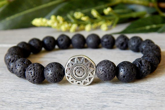 lava jewelry bracelets en black for volcano rock il him gift dhut listing bracelet tribal men mens