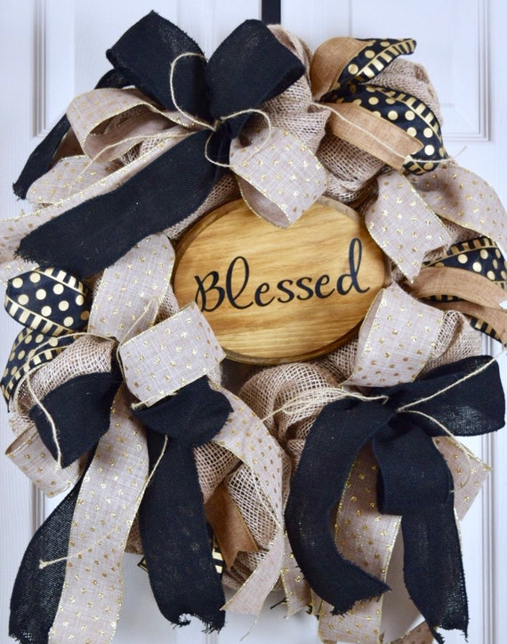 Blessed Gold and Black Burlap Oval Wreath; Primitive Country Wreath; Classic Everyday Burlap Wreath; Gold Black Beige Door Decor Wreath