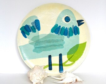 vintage Fitz and Floyd paper mache serving tray bird collage serving tray bird tray