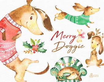 Merry Doggie. Christmas watercolor clipart , dachshund, dog, fun, cute animal, pet, floral, xmas, holly, greetings, diy, red, green, holiday