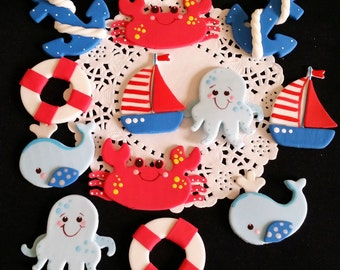 Under The Sea Party Decorations Boy Under the Sea Baby Shower Sea Party Favors Under The Sea Wale Themed Party Sea Boat Anchor Cake Toppers