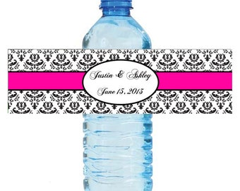 Damask Pink Wedding Water Bottle Labels Great for Engagement Bridal Shower Birthday Party Sweet 16