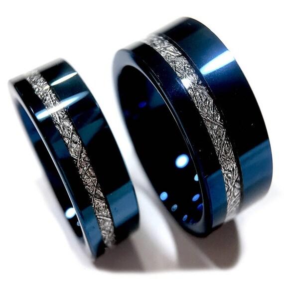 Meteorite Inlay Titanium Ring