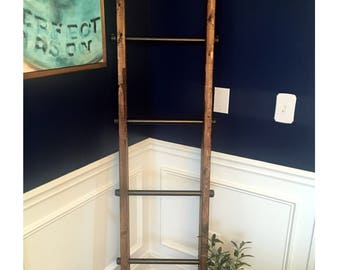 6' Tall Rustic Industrial Pipe & Wood Farmhouse Style Blanket Ladder Towel Hanger. Industrial Furniture, Blanket Ladder, Ladder Towel Hanger