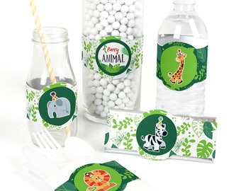 Jungle Party Animals - Baby Shower DIY Favor Wrappers - Safari Zoo Animals Party Decor - Jungle Birthday Party Favor Wrapper Supplies -15 Ct
