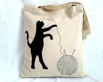 Cat Tote Bag, Knitting Gift, Cotton Tote Bag, Cat Lover Gift, Cat Mummy Gift, Farmer Market Bag , Cat Lady Gift, Shopper Bag, Black Cat Gift