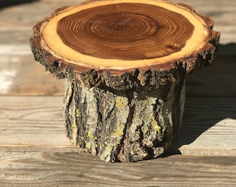 Small Elm Wood Rustic Cake Cupcake Stand Wedding party shower wooden, lumberjack party, wild things are, boho