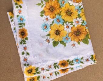 Vintage Handkerchief, Vintage 60s' Hankie, Cotton Handkerchief, Floral, PRETTY Colorful Floral, WHite, Green, Yellow,  Retro 50's Style
