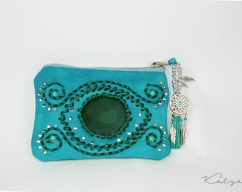 Magical  turquoise wallet featuring agate stone and celtic rune. Bohemian hippie wallet.