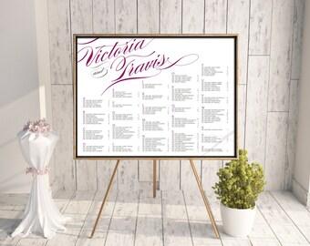 Wedding Seating Chart (Pirouette) - Digital Files, DIY, Printable, pdf, Calligraphy, Typography, Purple, Fuchsia, Rush, Swash, Decorative